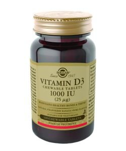 25 mcg vitamin D3 (1000 IU), 100 tablets to be crunched