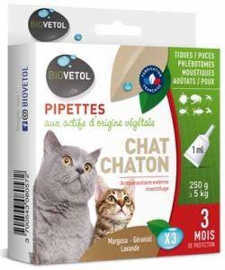 Pipettes antiparasitaires - Chat/Chaton - emballage abîmé, 3pièces
