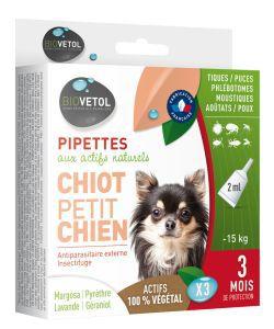 Pipettes antiparasitaires - Chiot/Petit Chien, 3pièces