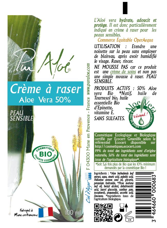 Etiquette crème à raser Pur Aloe