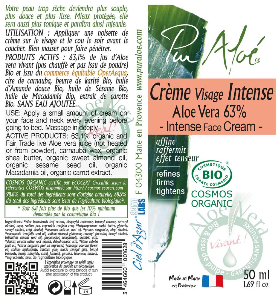 Etiquette Crème visage intense Pur Aloe