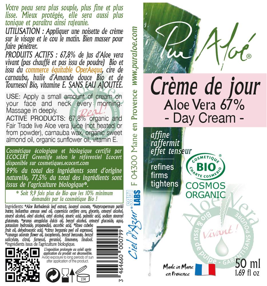 Etiquette Crème visage Pur Aloe