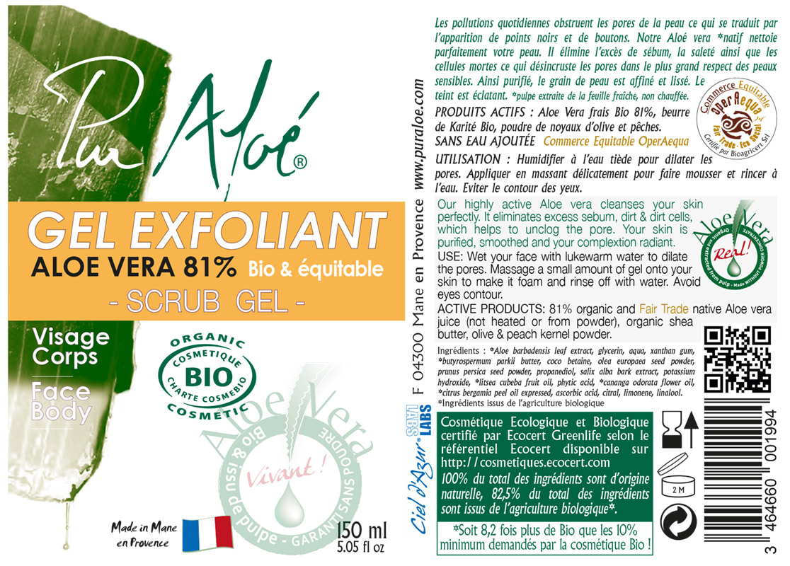 Pur Aloe Exfoliating Gel Label