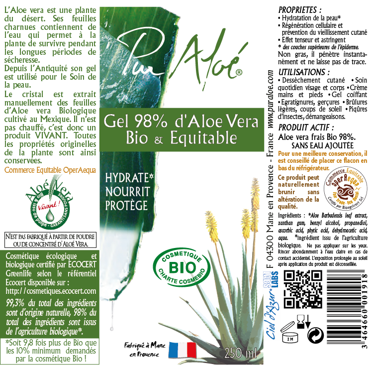 Etiquette Gel d'aloe vera 98% Pur Aloe