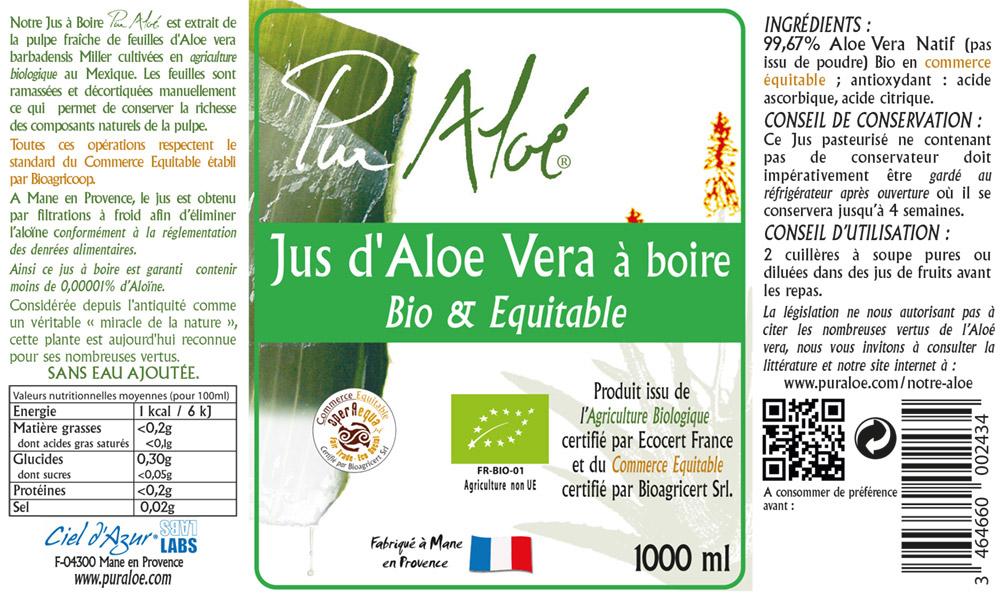 Etiquette jus d'aloe vera à boire 1L Pur Aloe