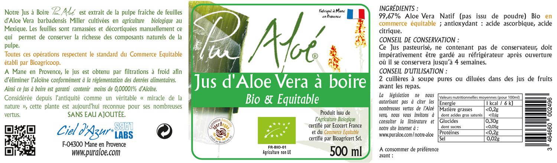 Etiquette jus d'aloe vera à boire 500ml Pur Aloe
