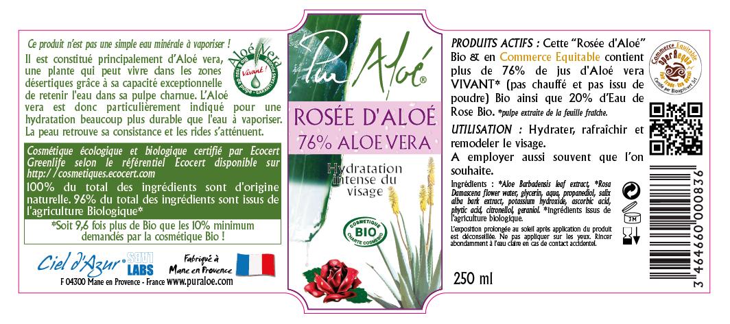 Etiquette Rosée d'aloe vera Pur Aloe