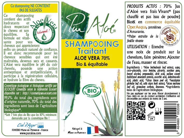 Etiquette Shampooing traitant Pur Aloe
